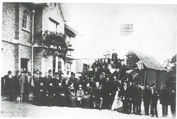 A similar group of Beating the Bounds participants outside the Fox and Grove on Hanger Lane in 1887 source: Ealing As It Was, Hendon Publishing 1993