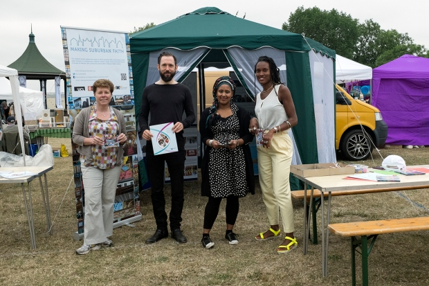 The MSF Team in front of our stall at the Hanwell Carnival. Left to right: Dr. Claire Dwyer, Christian Sayer, Dr. Nazneen Ahmed, Natalie Hyacinth
