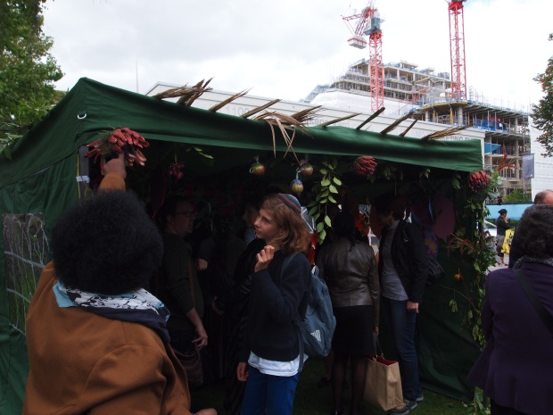 Sukkah attracting a diverse crowd
