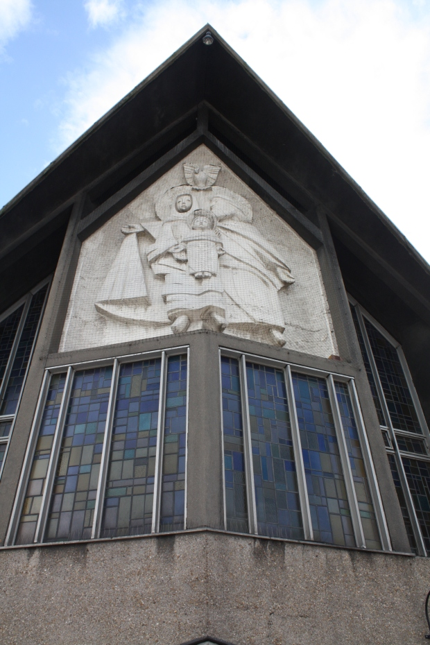 A. K. Bobrowski's sculpture on the exterior of Our Lady & St. Joseph's