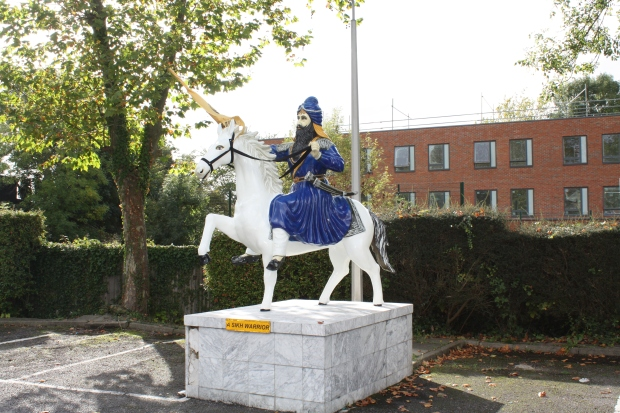 Sikh warrior in the car park of the London Sikh Centre