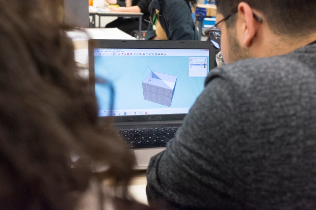 Students using the Sketchup software
