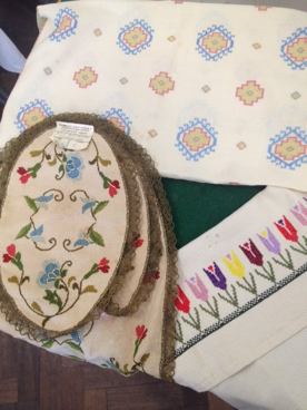 Examples of embroidery brought by participants to the first workshop session